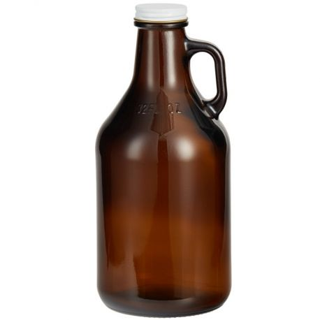 More information about product Amber Growler 32oz with White Metal Lid