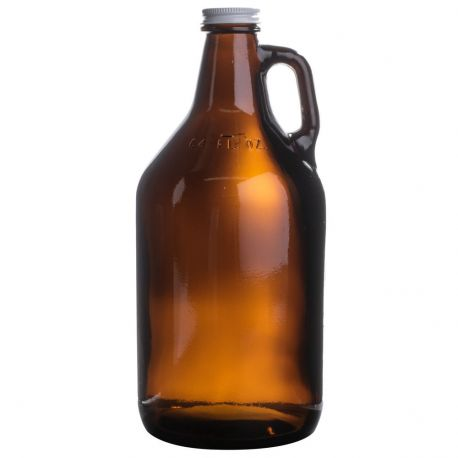 More information about product Amber Growler 64oz with White Metal Lid